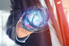 Hologram van wiel met een futuristische gegevensinterface wordt gemaakt - 3d ren die Royalty-vrije Stock Afbeeldingen