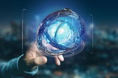 Hologram van wiel met een futuristische gegevensinterface wordt gemaakt - 3d ren die Stock Foto