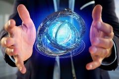 Hologram van wiel met een futuristische gegevensinterface wordt gemaakt - 3d ren die Stock Fotografie