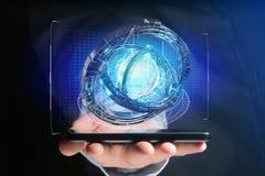 Hologram van wiel met een futuristische gegevensinterface wordt gemaakt - 3d ren die Stock Afbeeldingen