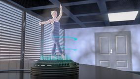 A holo dancer is projected with a holo projector. A hologram woman is dancing 3d rendering Stock Photos