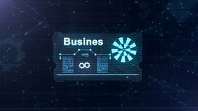 Holograma abstracto Tarjeta de visita con una muestra de dardos, de la rueda dentada azul y de algunos otros diagramas Fondo azul libre illustration