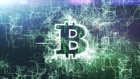 Holograma 3d de Bitcoin ilustración del vector