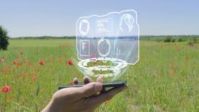 Holograma da tela de HUD em um smartphone vídeos de arquivo