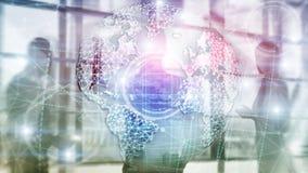 holograma da terra 3D, globo, WWW, neg?cio global e telecomunica??o ilustração do vetor