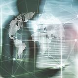 holograma da terra 3D no fundo borrado Conceito do neg?cio global e da comunica??o ilustração do vetor