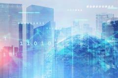 Holograma da terra e rede digital global na cidade ilustração do vetor