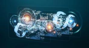 Holograma de Digitas com o renderin das cartas e das estatísticas 3D das telas Imagem de Stock Royalty Free