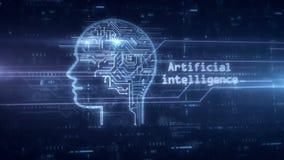 Holograma de la inteligencia artificial almacen de metraje de vídeo