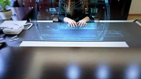 Holograma de la pantalla táctil almacen de video