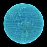 Holograma de la tierra en fondo negro Imagen de archivo libre de regalías