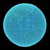 Holograma de la tierra en fondo negro Imágenes de archivo libres de regalías