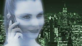 Holograma de una mujer almacen de video