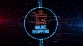 Holograma del carro de la compra en círculo eléctrico libre illustration