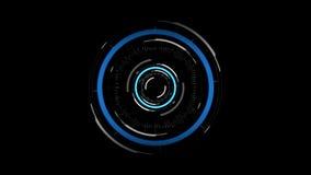 Holograma del circuito virtual sobre fondo negro ilustración del vector