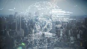 Holograma del negocio global ilustración del vector