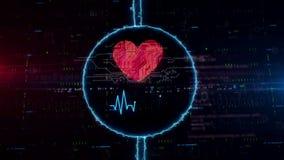Holograma del símbolo del corazón y del amor en círculo eléctrico ilustración del vector