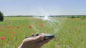 Holograma del satélite en un smartphone metrajes