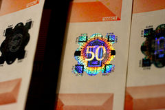 holograma do euro 50 Fotos de Stock