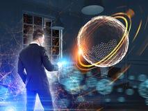 Holograma do homem de negócios e do Saturn, casa Imagem de Stock Royalty Free