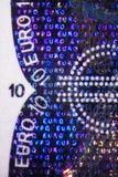 Holograma en un Bill euro Foto de archivo libre de regalías