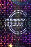 Holograma en un Bill euro Fotografía de archivo libre de regalías