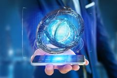 Holograma feito da roda com uma relação futurista dos dados - 3d ren Fotos de Stock Royalty Free