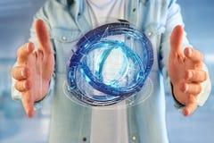 Holograma feito da roda com uma relação futurista dos dados - 3d ren Fotografia de Stock Royalty Free