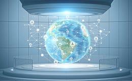Holograma global da rede da hora, relação futurista ilustração stock