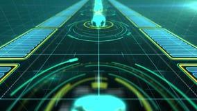 Holograma gráfico de la trayectoria global abstracta o fondo móvil Interfaz del holograma con futurista en fondo de la red de ord stock de ilustración