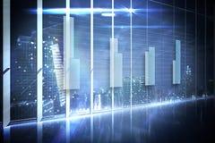 Holograma interfejs w biurowym przegapia mieście Zdjęcia Royalty Free