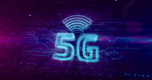holograma móvel do símbolo da rede da geração 5G 5 ilustração do vetor