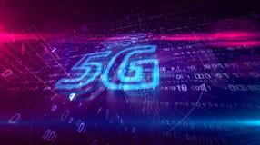 holograma móvel do símbolo da rede da geração 5G 5 ilustração royalty free