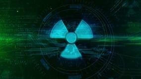 Holograma nuclear do s?mbolo de advert?ncia ilustração royalty free