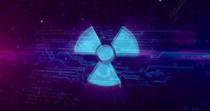 Holograma nuclear do s?mbolo de advert?ncia ilustração stock