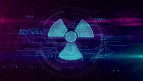 Holograma nuclear do s?mbolo de advert?ncia ilustração do vetor