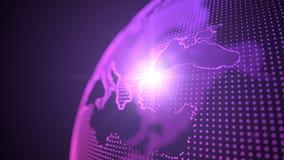 Holograma púrpura del estilo del punto de los continentes de la tierra centrado en pavo, ejemplo 3d ilustración del vector