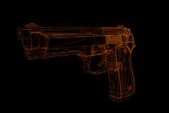 Holograma Wireframe da arma da arma no movimento Rendição 3D agradável Imagem de Stock
