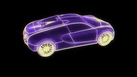 Holograma Wireframe del coche de competición Representación agradable 3D ilustración del vector