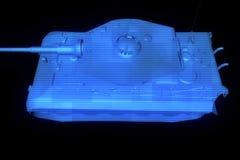 holograma Wireframe do tanque 3D no movimento rendição 3d Fotos de Stock