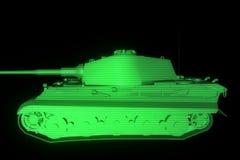 holograma Wireframe do tanque 3D no movimento rendição 3d Imagem de Stock Royalty Free