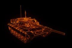 holograma Wireframe do tanque 3D no movimento rendição 3d Fotografia de Stock Royalty Free