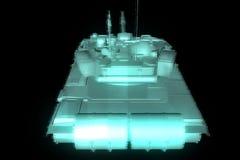 holograma Wireframe do tanque 3D no movimento rendição 3d Foto de Stock Royalty Free