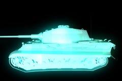holograma Wireframe do tanque 3D no movimento rendição 3d Fotos de Stock Royalty Free