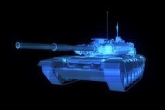holograma Wireframe do tanque 3D no movimento rendição 3d Imagens de Stock
