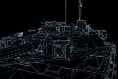 holograma Wireframe do tanque 3D no movimento Rendição 3D agradável Fotografia de Stock Royalty Free