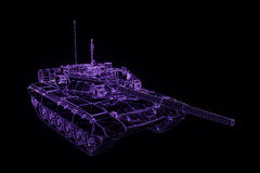 holograma Wireframe do tanque 3D no movimento Rendição 3D agradável Fotos de Stock Royalty Free