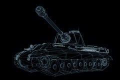 holograma Wireframe do tanque 3D no movimento Rendição 3D agradável Foto de Stock Royalty Free