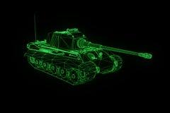 holograma Wireframe do tanque 3D no movimento Rendição 3D agradável Fotografia de Stock