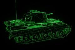 holograma Wireframe do tanque 3D no movimento Rendição 3D agradável Fotos de Stock